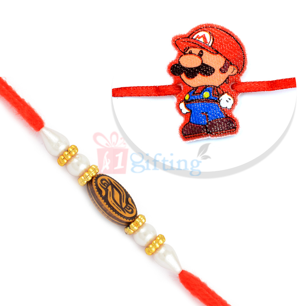 Shimmering Golden Pearl Rakhi for Brother with Mario Kids Rakhi