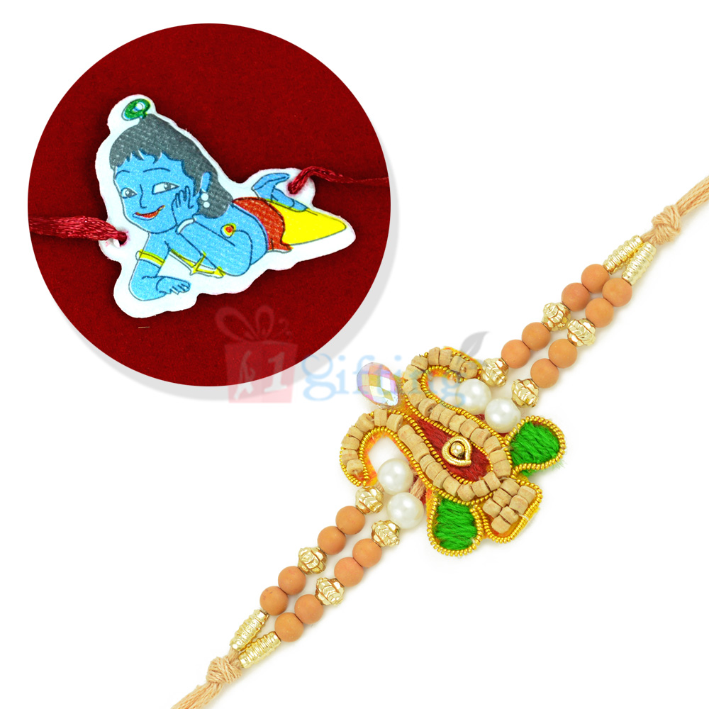 Beautiful Sandalwood and Beads Rakhi with Kanha Kids Rakhi Set
