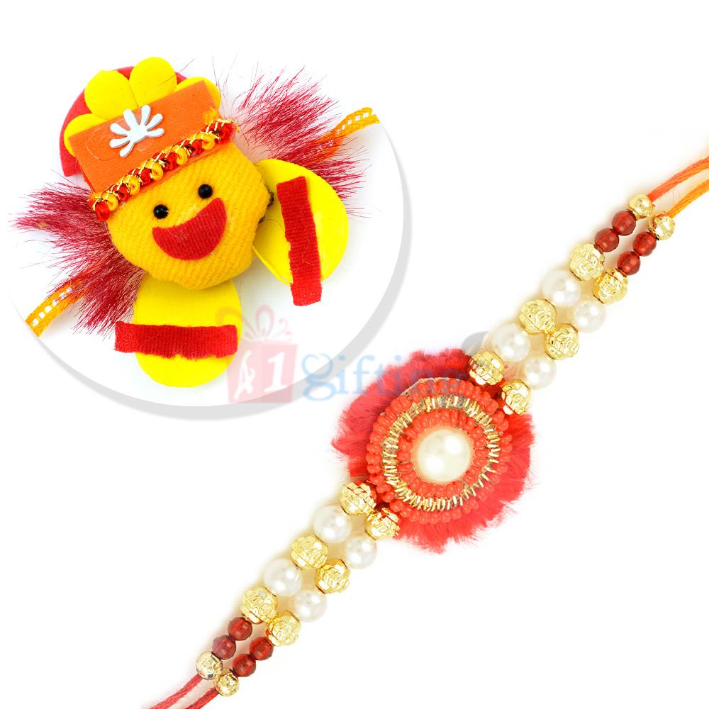 Premium Zardosi Pearl Round Rakhi with Sparkling Kids Rakhi Set