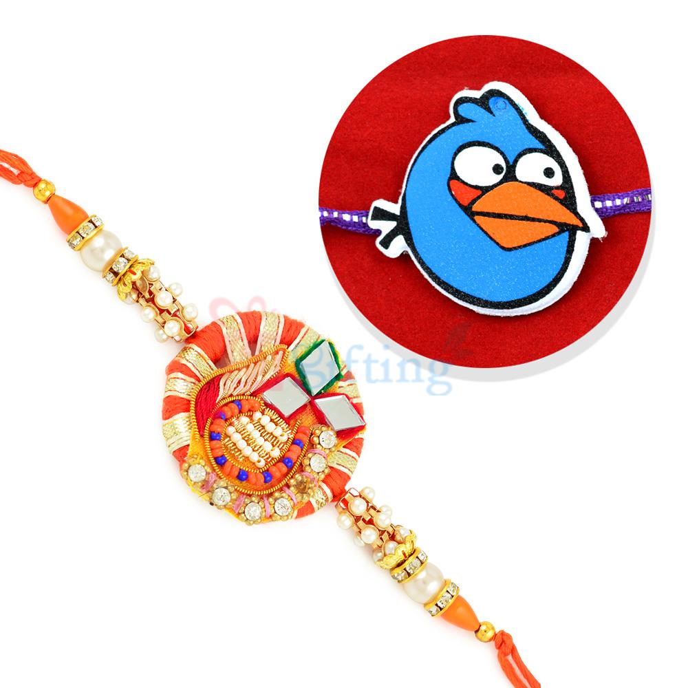 Rajasthani Design Zari Work Rakhi for Brother and Blue Angry Bird Rakhi