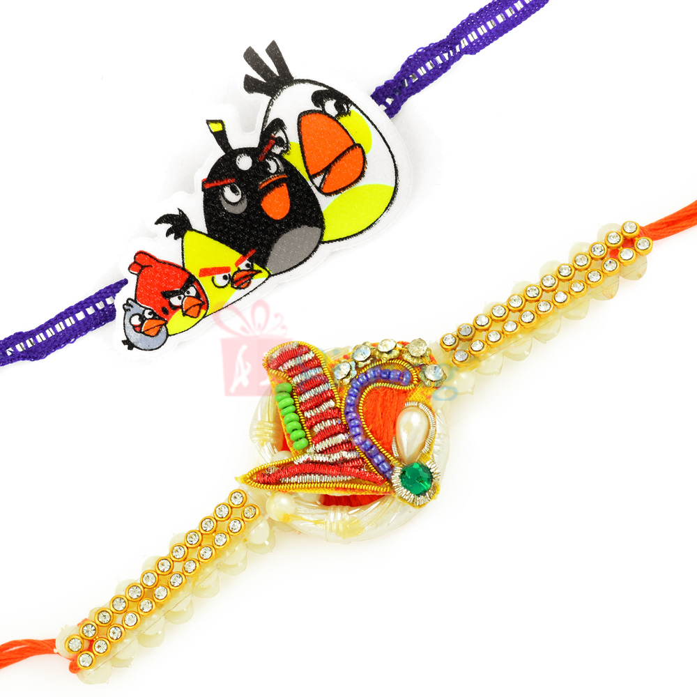 Loverly Zardosi Work Special Pearl Rakhi with Angry Birds Family Kids Rakhi