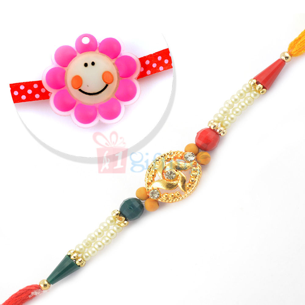 Awesome Pink Shade Kids Rakhi and Pearl Beaded Special Rakhi Set
