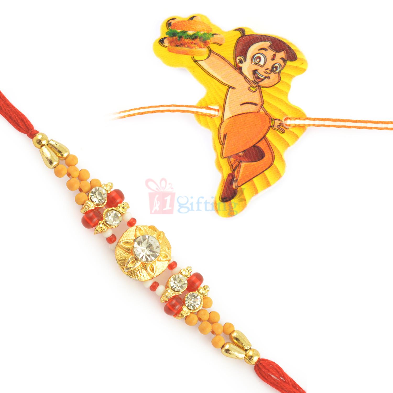 Tremendous and Graceful Beads Rakhi for Brother with Kids Rakhi Set