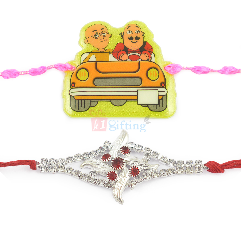 Prodigious Diamond Clustered Fancy and Motu Patlu Kids Rakhi Set of 2