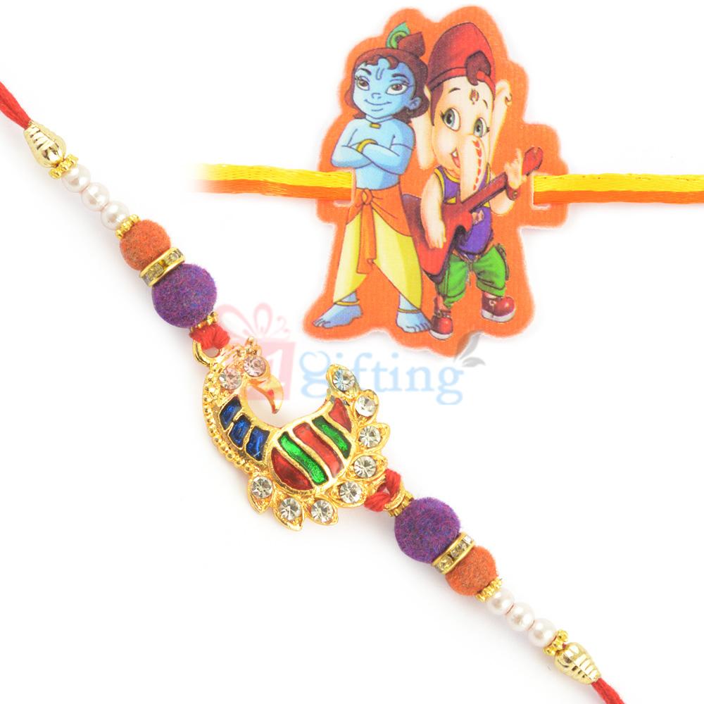 Remarkably Color Meena Peacock Rakhi with Kids Rakhi Set