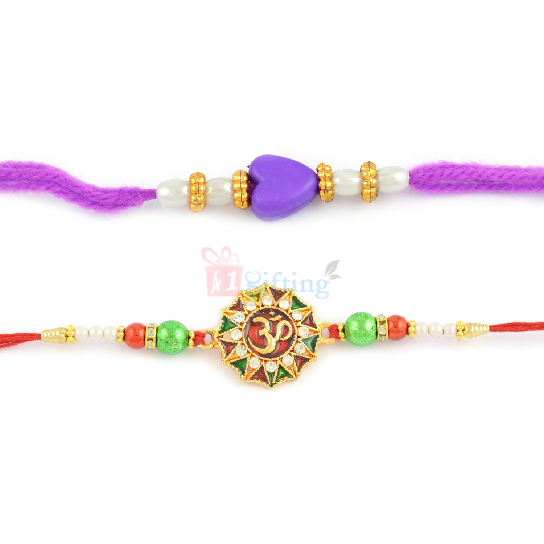 Enlightened Meena Work OM and Blue Beads Rakhi Set of 2
