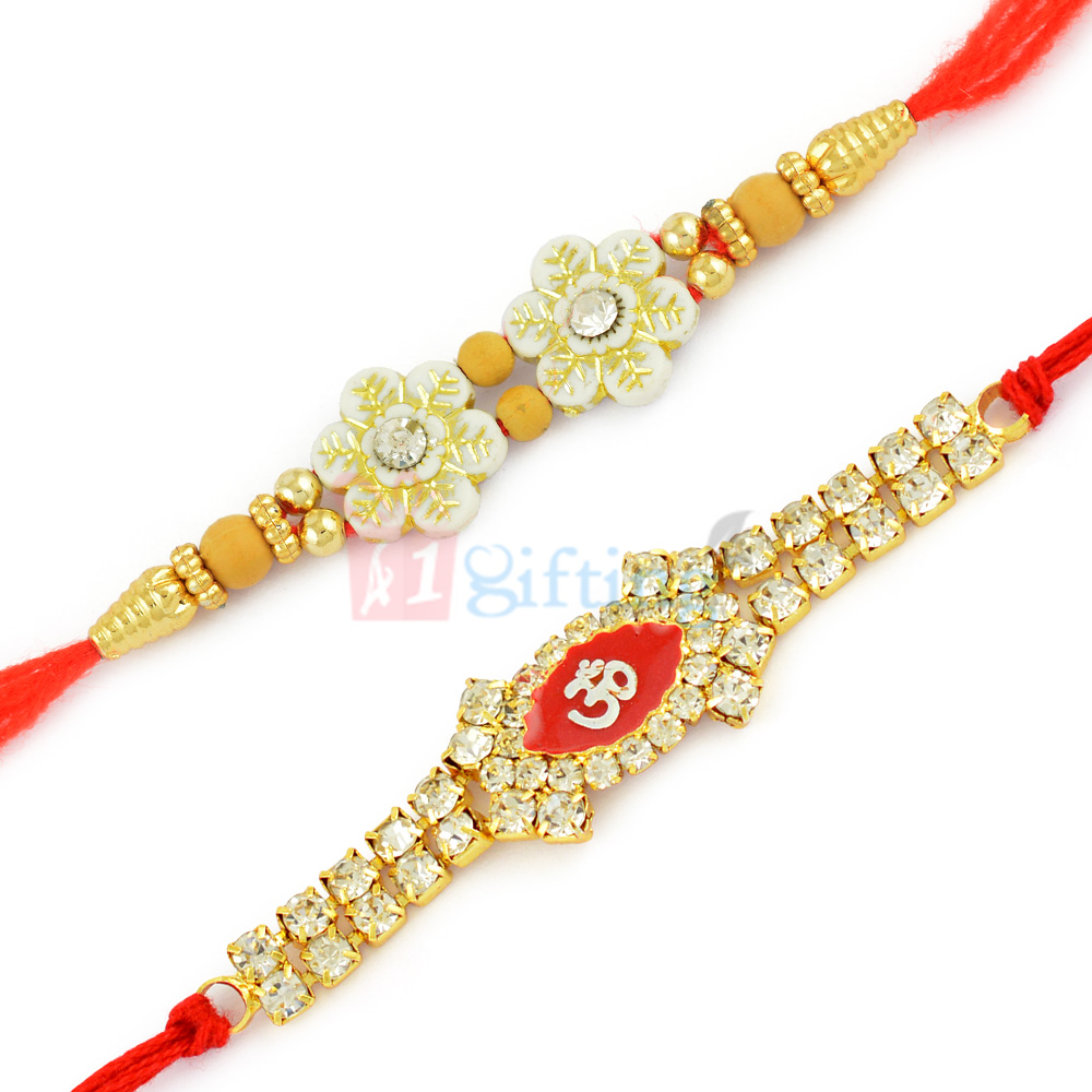 Pleasing Floral Beads and Holy OM Diamond Rakhi Set of 2 Rakhis