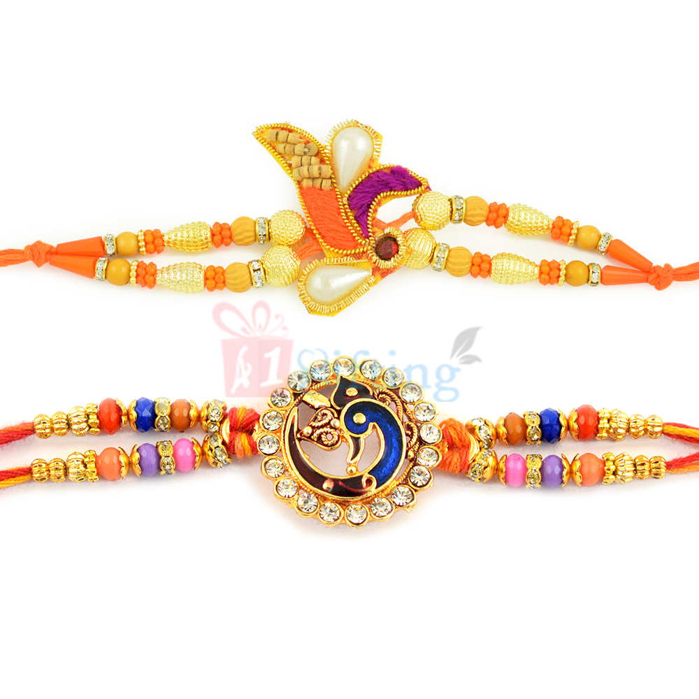 Good Looking Peacock Meena Rakhi with Sandalwood Rakhi