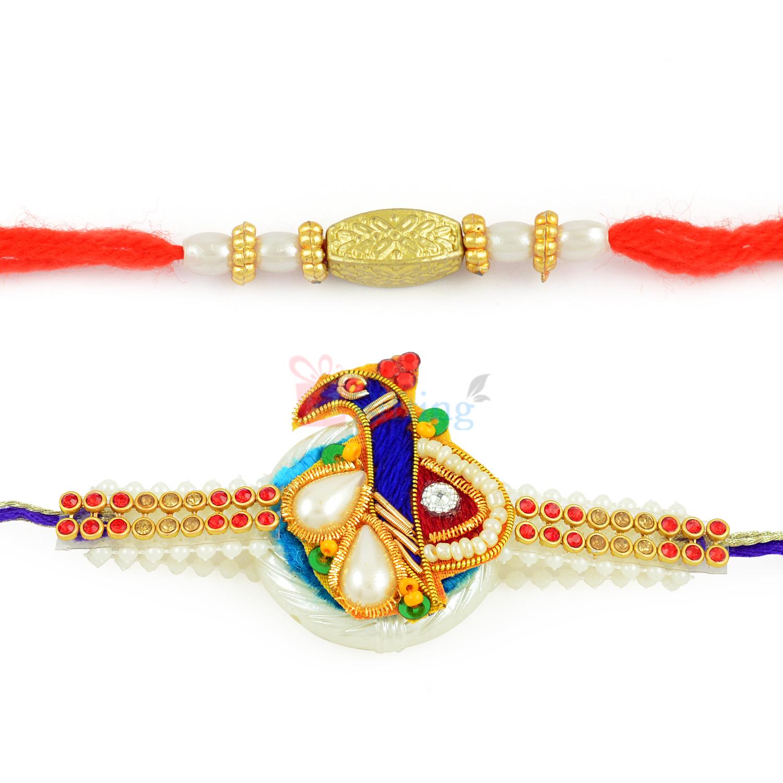Dashing Zardosi work Peacock Rakhi with Beautiful Beads Rakhi