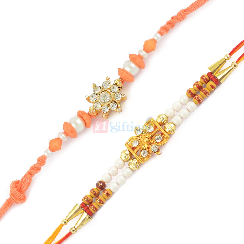 Shining Pink Pearl Diamond Golden Beads Rakhi Set of 2