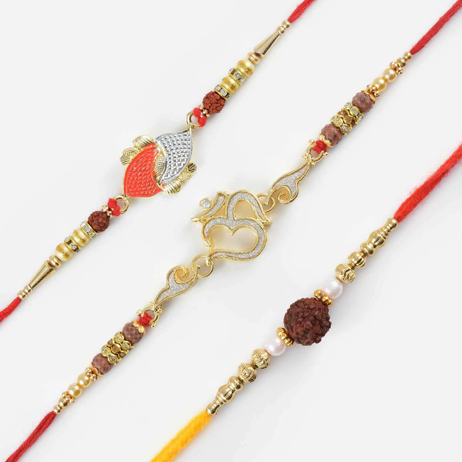 Om Rakhi with Dual Rudraksha Rakhi Set of 3