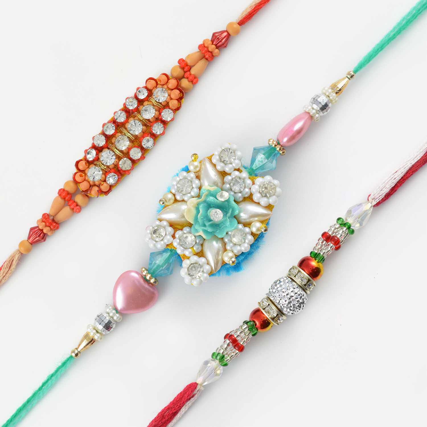 Gleaming Diamonds and Beads Rakhi Set of 3