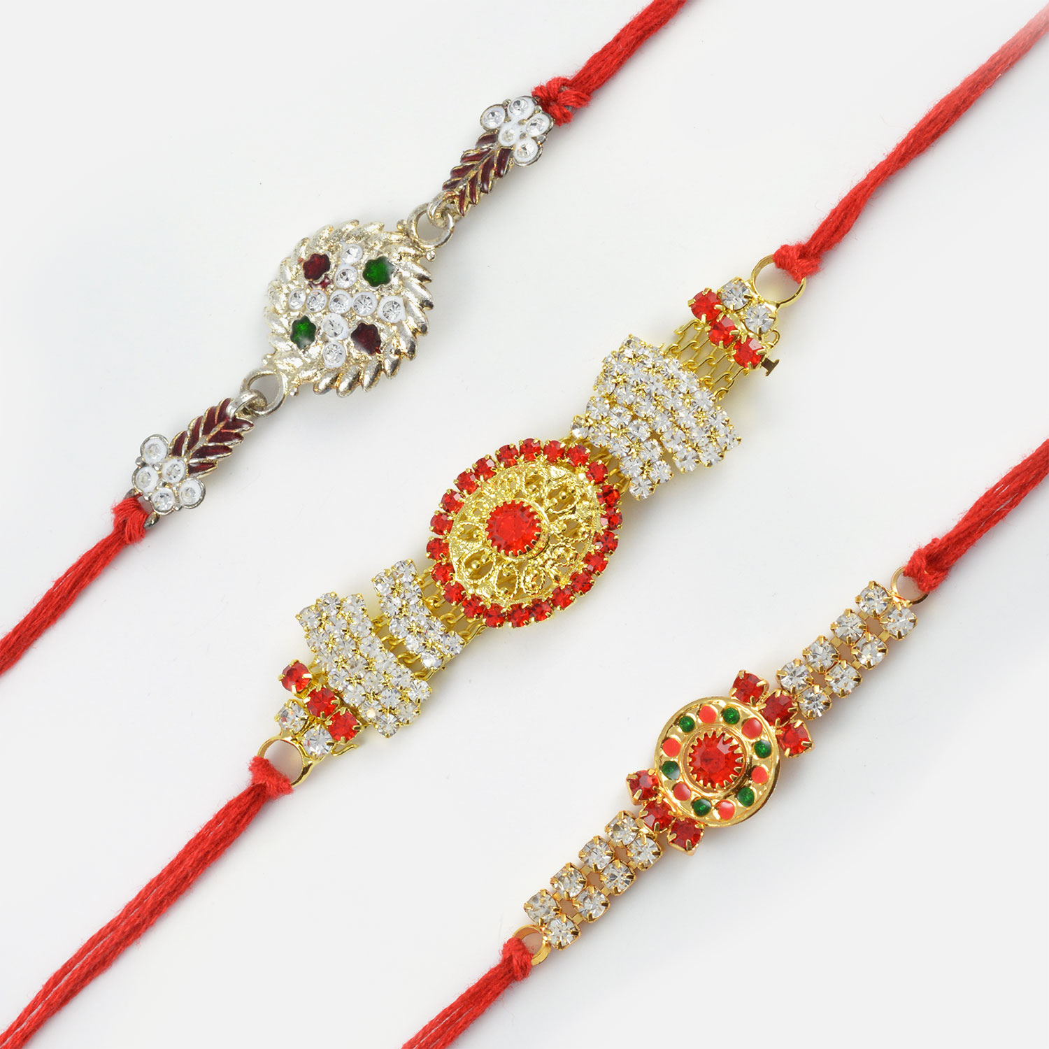 Designer Rakhi Set of 3 with Mauli String