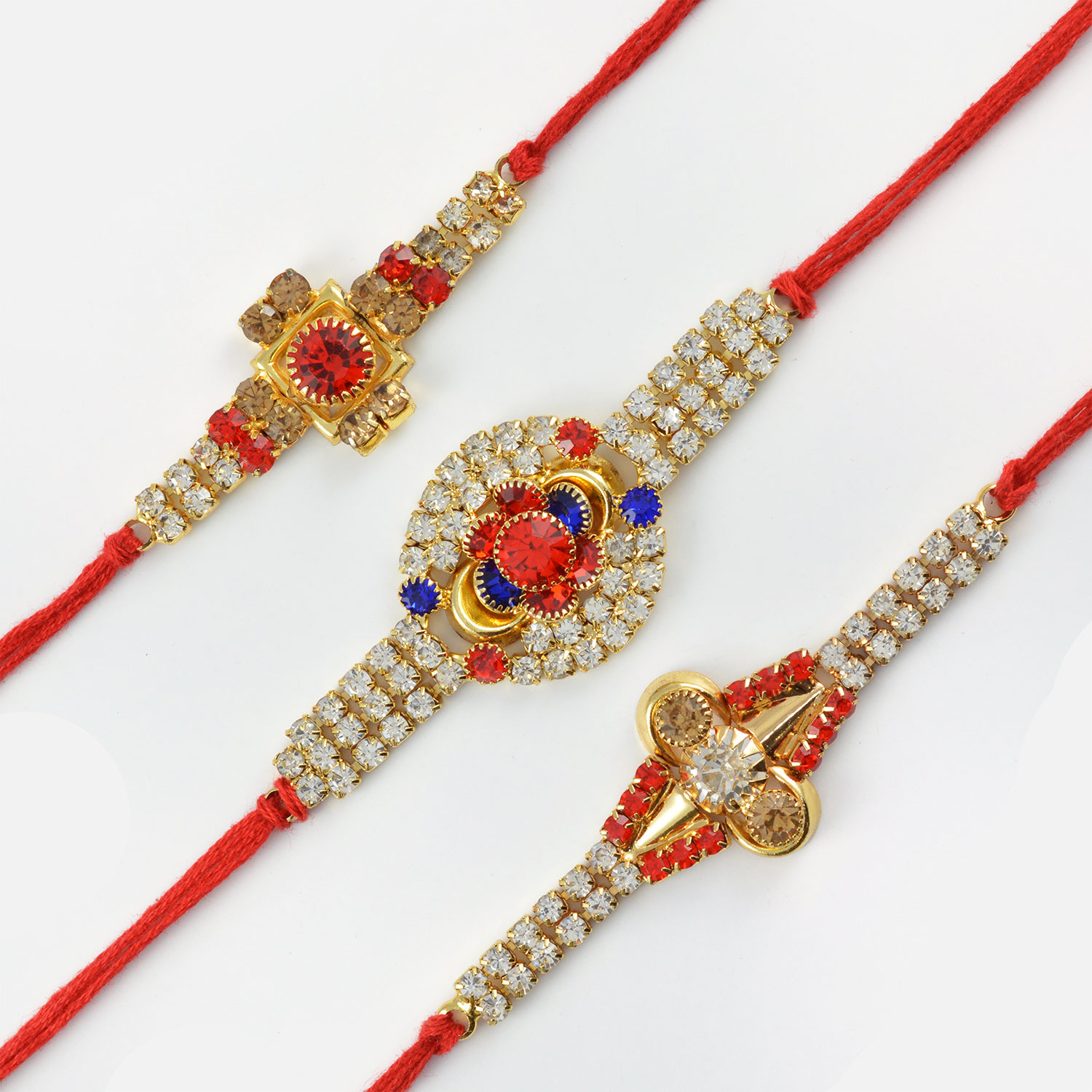 Beautifully Cut and Polished Diamond Rakhi Set of 3