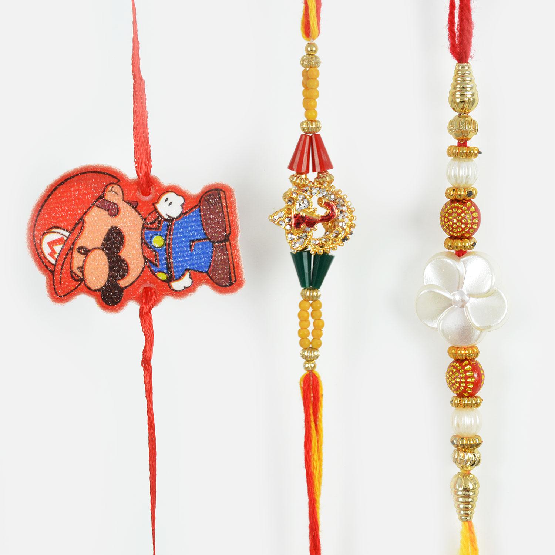 Super Mario Kids Rakhi along with Floral Designed and Diamond Studded Ganesha Rakhi Set of 3
