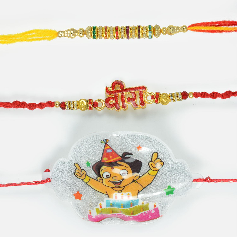 Red Diamond Studded and Colourful Diamonds Rakhi Set with Powerful Chhota Bheem Rakhi Set of 3
