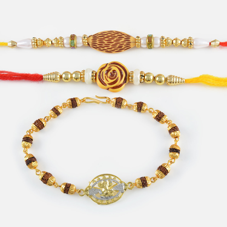 Golden Ganesha Rudraksha Rakhi Bracelet with