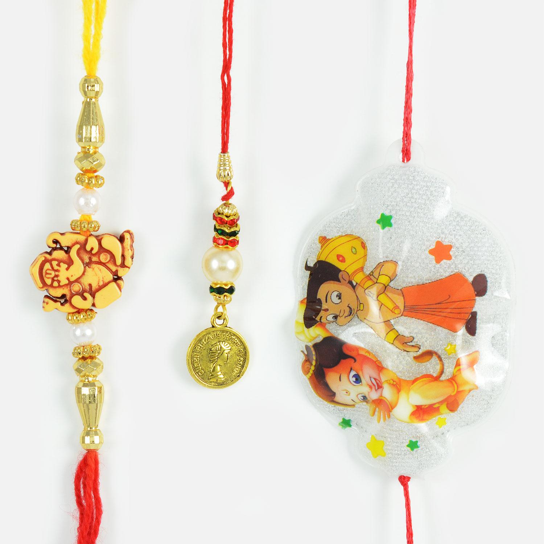 Amazing Beads and Pearls Rakhi Set with Bal Hanuman Rakhi