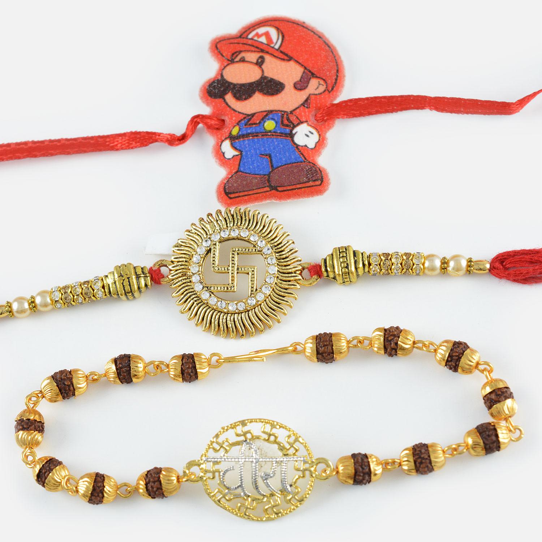 Veera Rudraksha Bracelet along with Golden Swastik and Super Mario Rakhi Set of 3