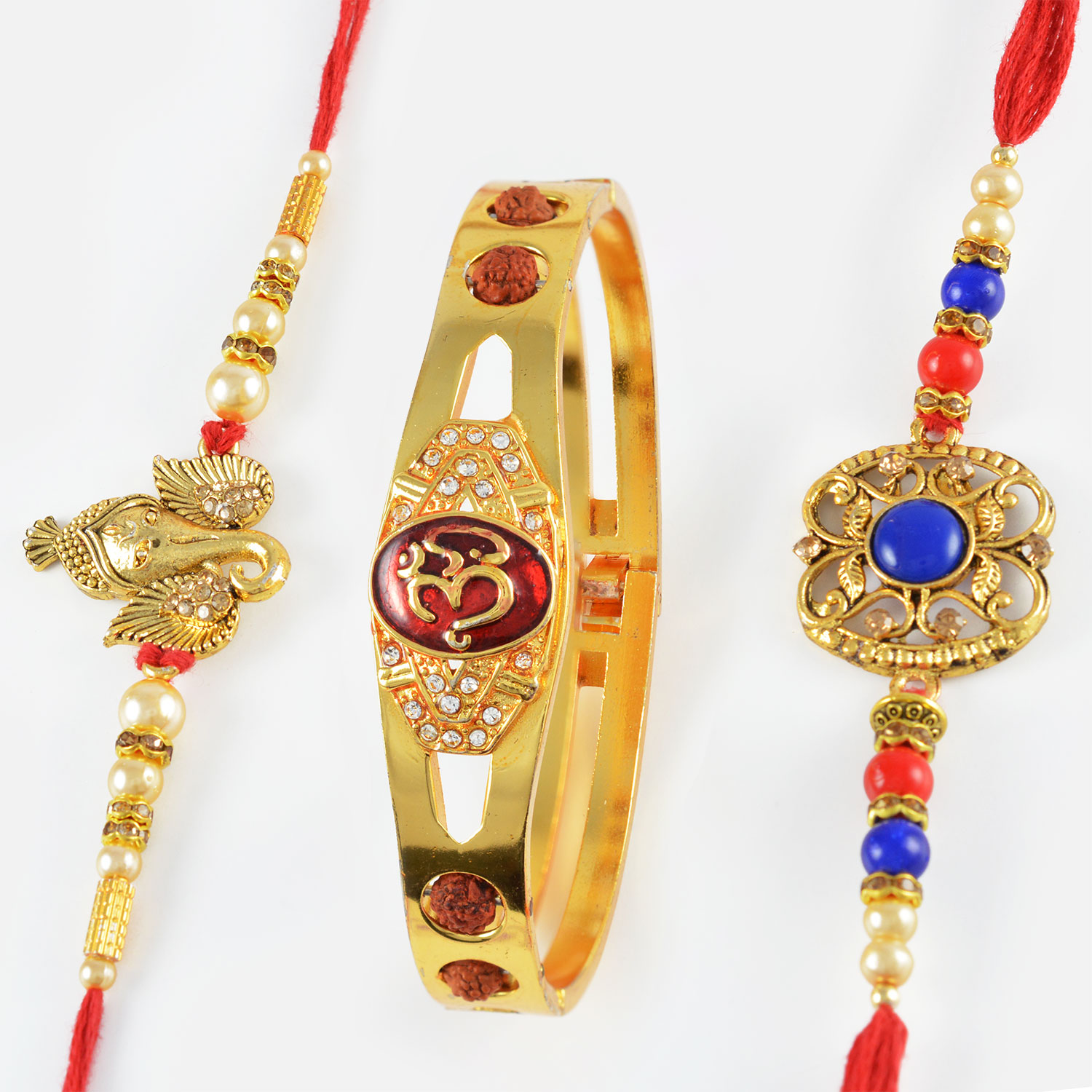 Stunning OM Bracelet along with Golden Ganpati and Blue Beads Rakhi Set of 3