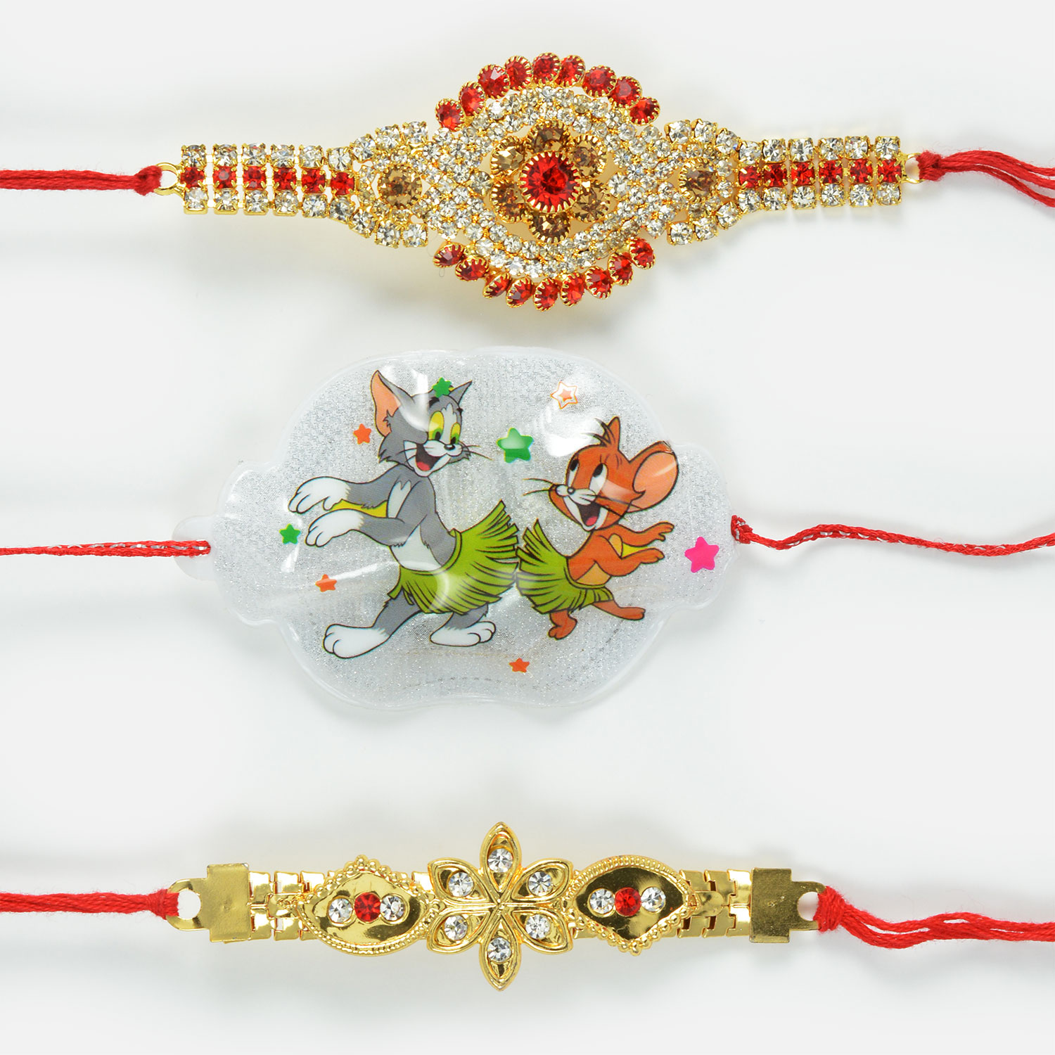 Exotic Red and Silver Diamond Rakhi Set with Dancing Tom and Jerry Kids Rakhi