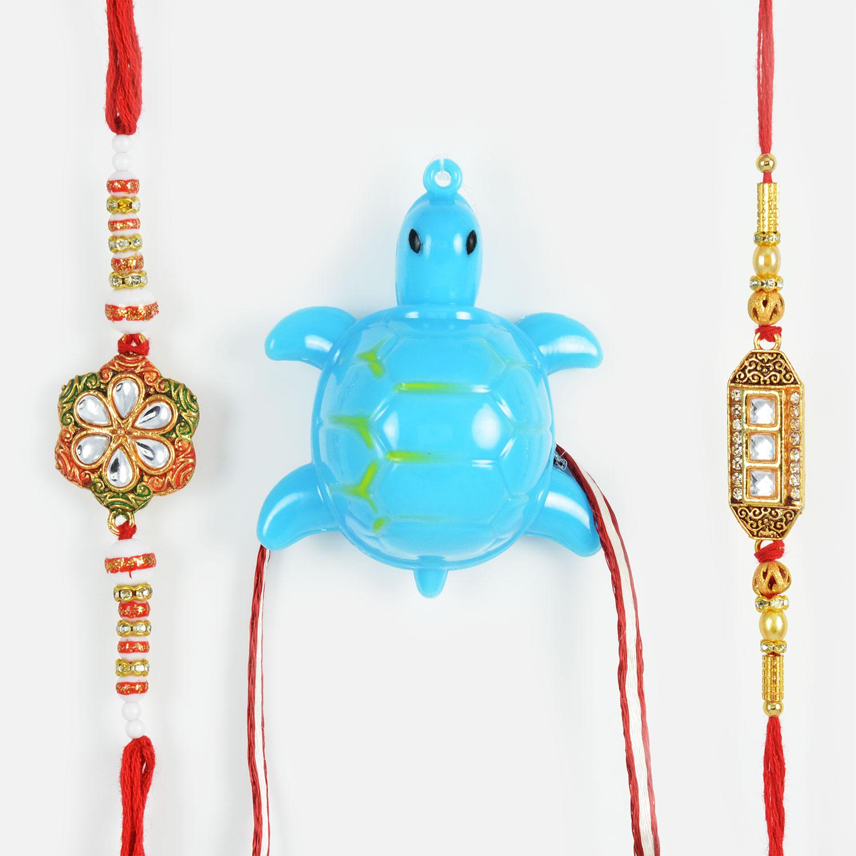 Kundan Meena Worked Rakhi and Blue Tutrtle Rakhi Set of 3