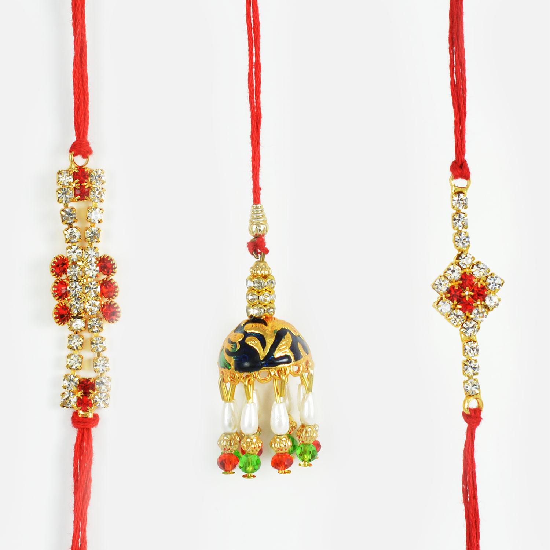 Delightful Diamonds and Beads Rakhi Set of 3