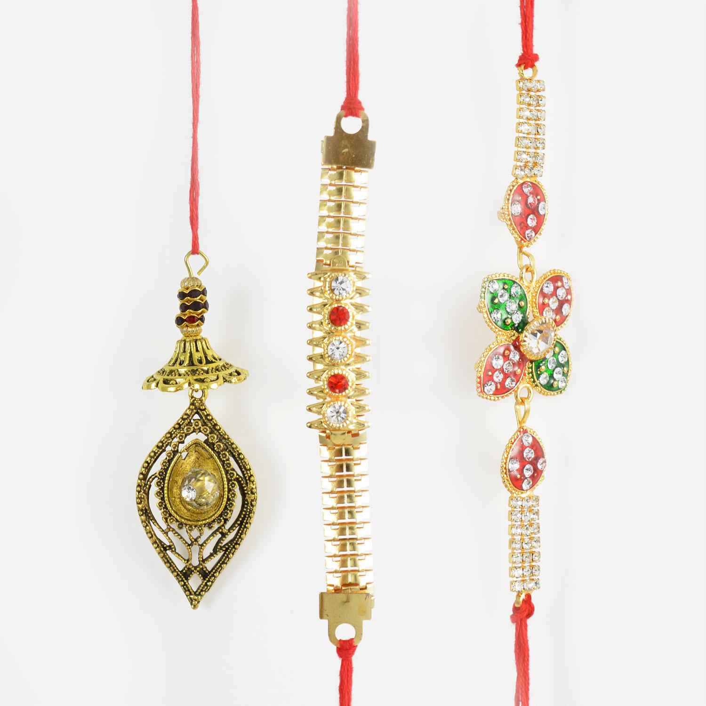 Golden Kundan Meena Worked Rakhi set of 3