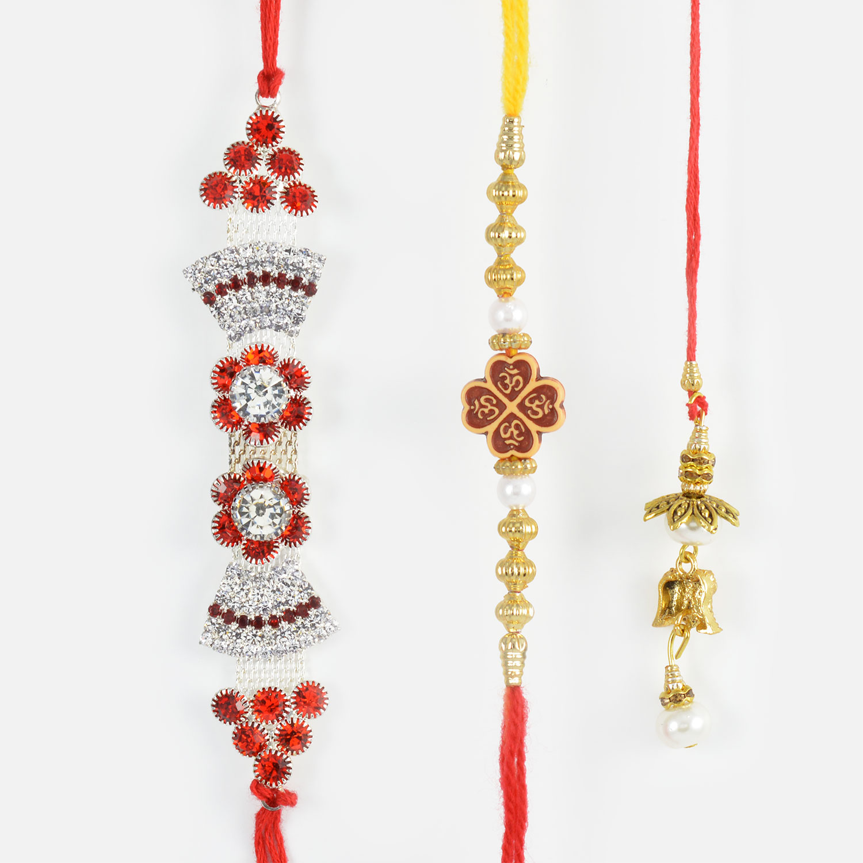Shimmering Bhaiya Rakhis along with Pearl Lumba Rakhi