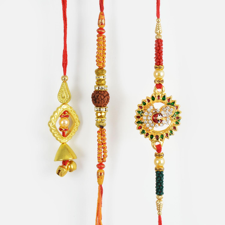 Colourful Kundan Meena Rakhi Set with Divine Rudraksha Rakhi
