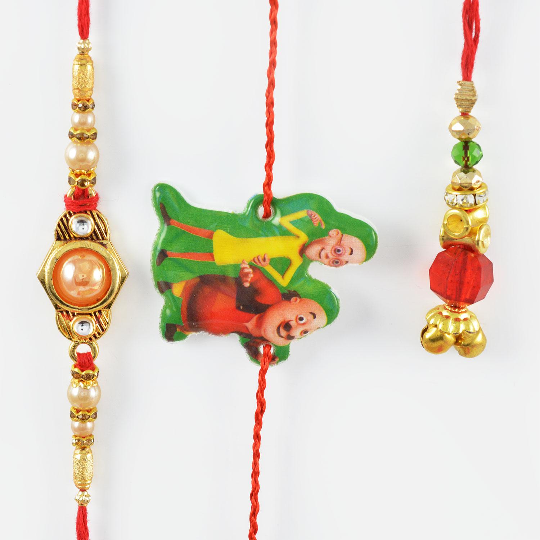 Glossy Beads Bhaiya-Bhabhi Rakhi with Motu-Patlu Kids Rakhi Set of 3