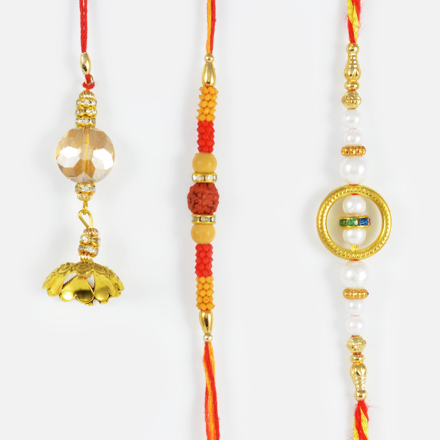 Pretty Collection of 3 Golden Rakhis with Beads