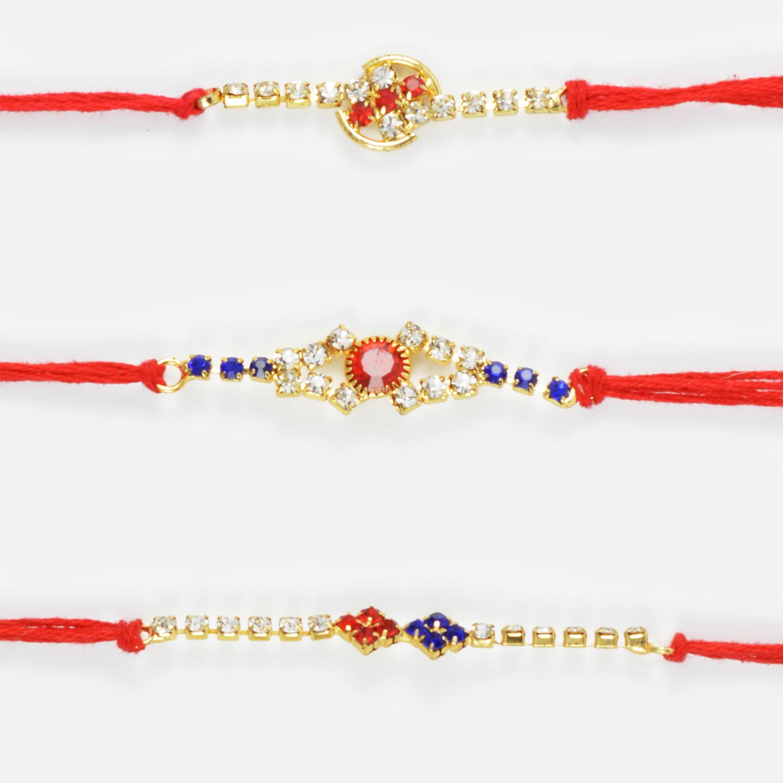Intricate Diamond Work Rakhi Set of 3