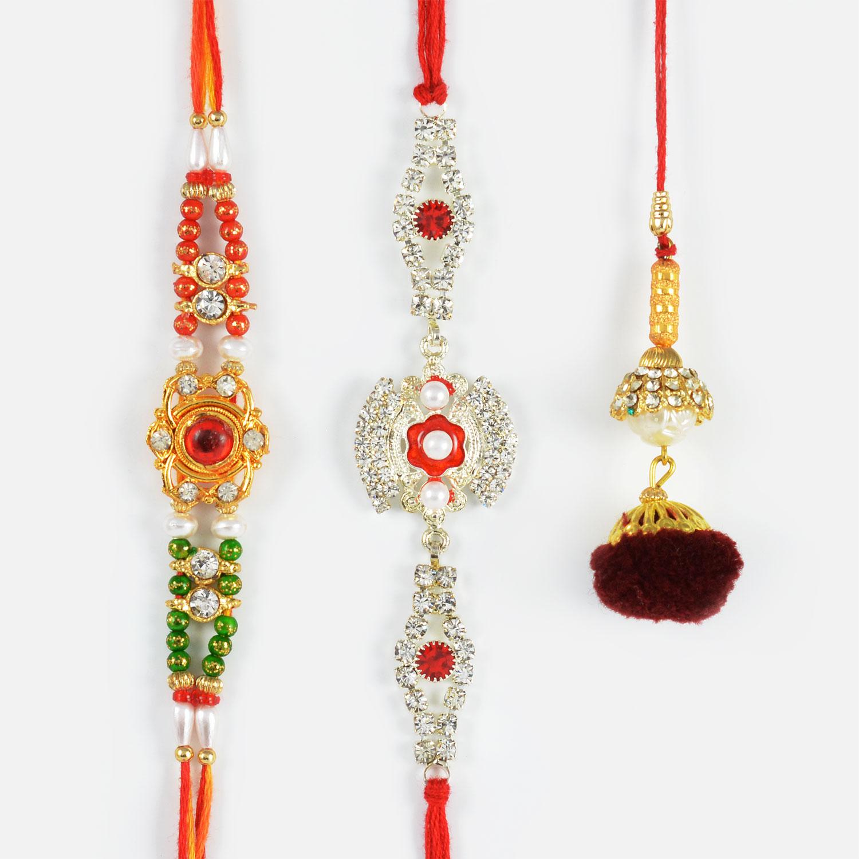 Traditional Lumba Rakhi with Stunning Diamonds and Beads Rakhi Set of 3