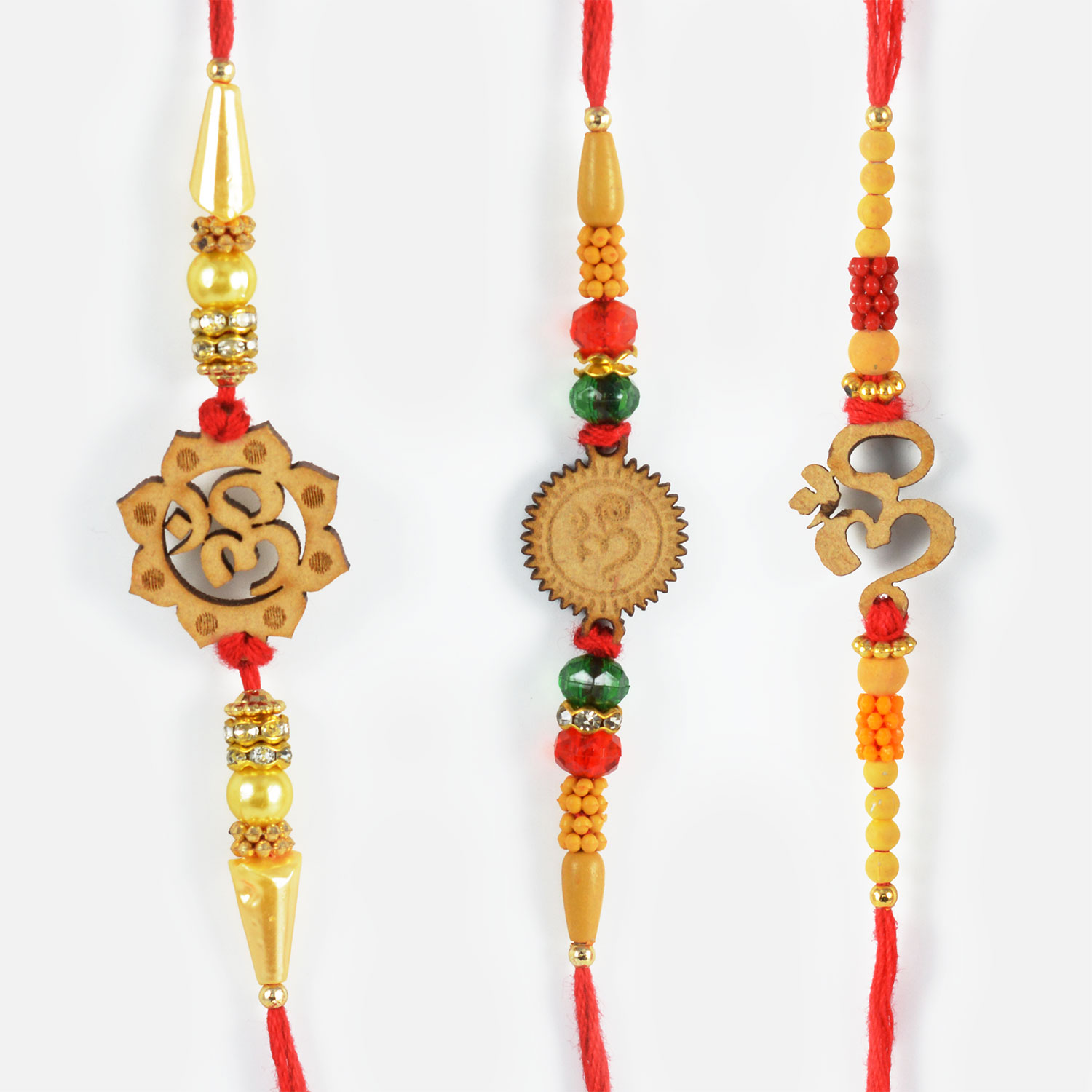 Handcrafted Wooden OM with Beads and Pearls Rakhi Set of 3