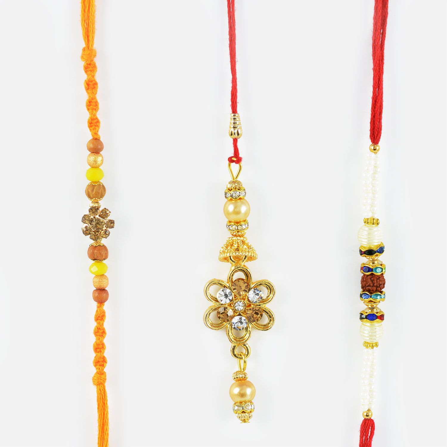 Traditional Mauli Threaded Bhaiya-Bhabhi Rakhi with Divine Rudraksha Rakhi Set of 3