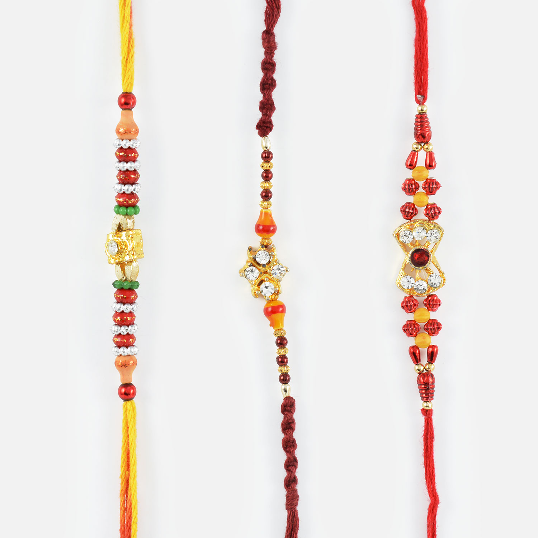 Simple Mauli String Rakhi Set of 3