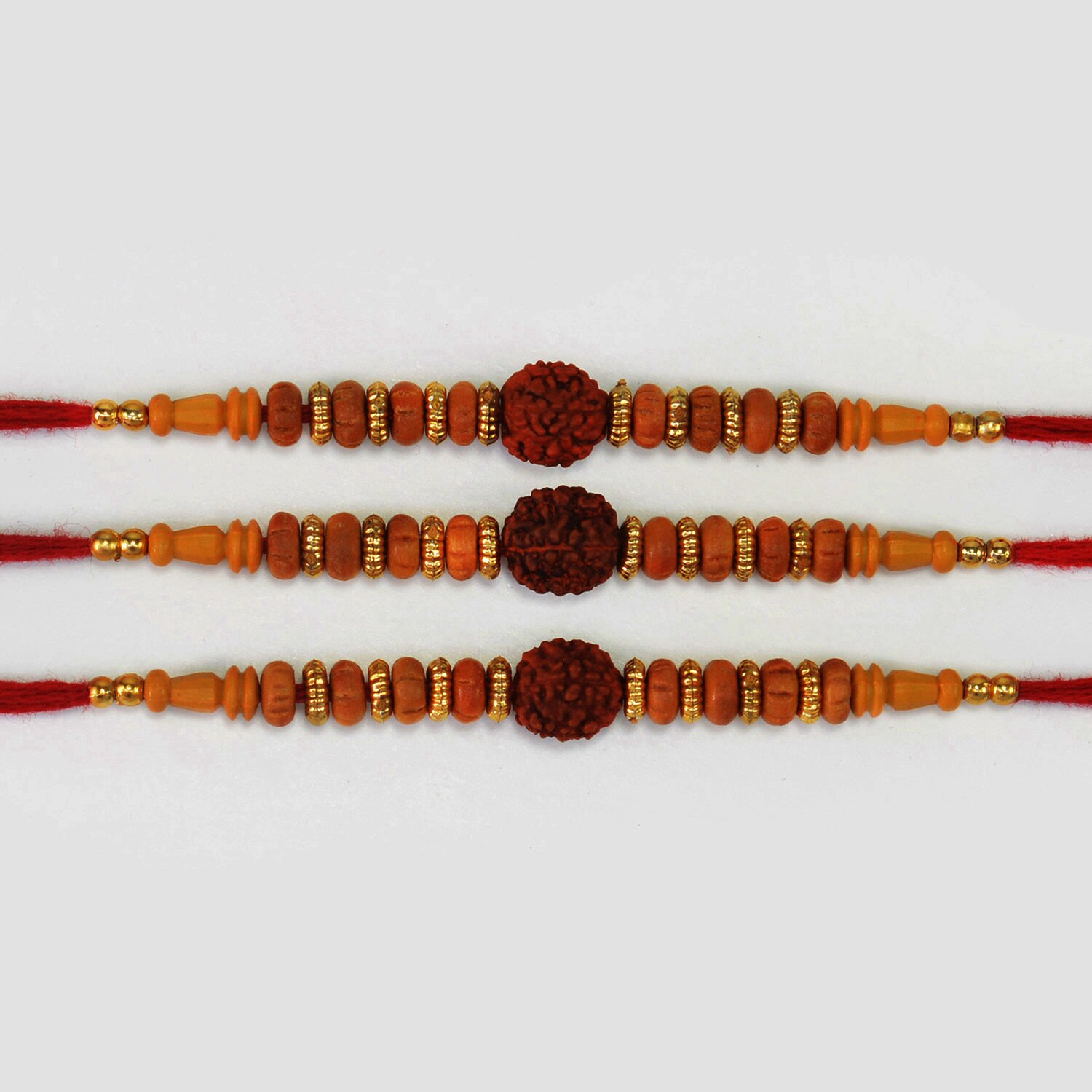 Rudraksha in Mid of Sandalwood Beads Nicely Crafted Amazing Rakhis Set for 3 Brothers