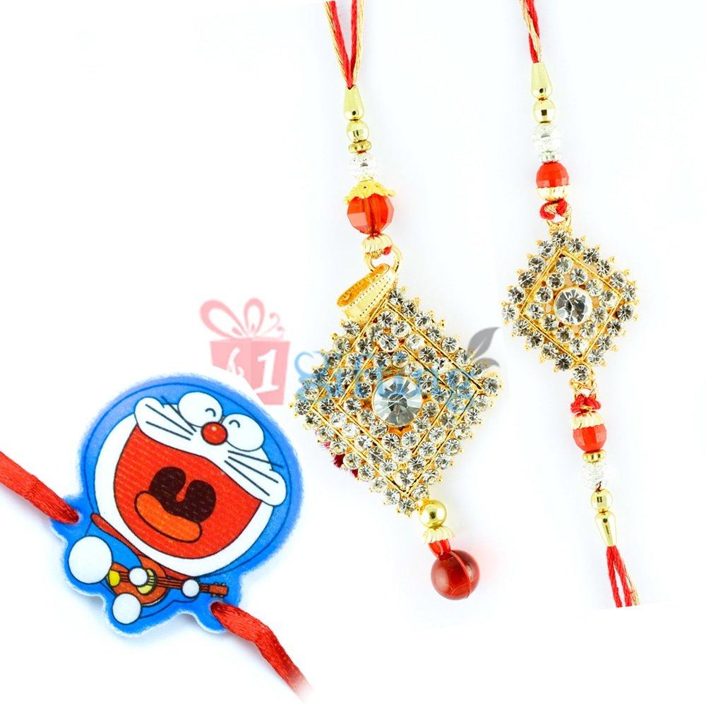 Set of 3 Rakhis-Amazing Diamond Bhaiya-Bhabhi-Doraemon Kids Rakhi