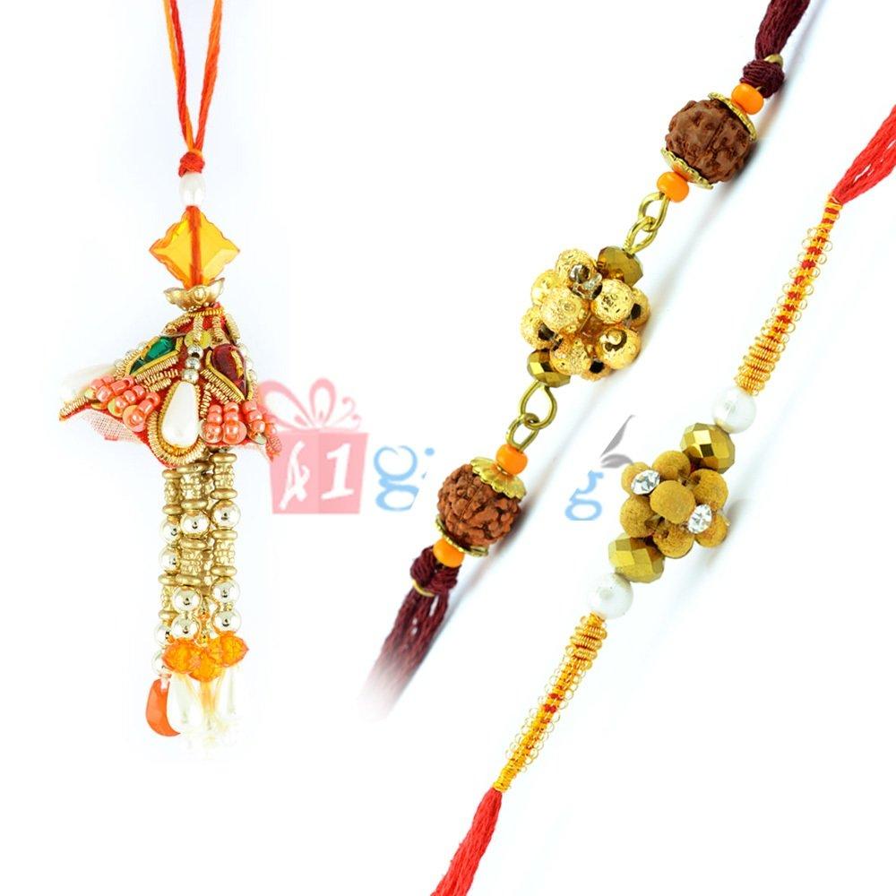Peach Beads Bhabhi Rakhi with Rudraksh Spiral Pearl 3 Rakhi Set