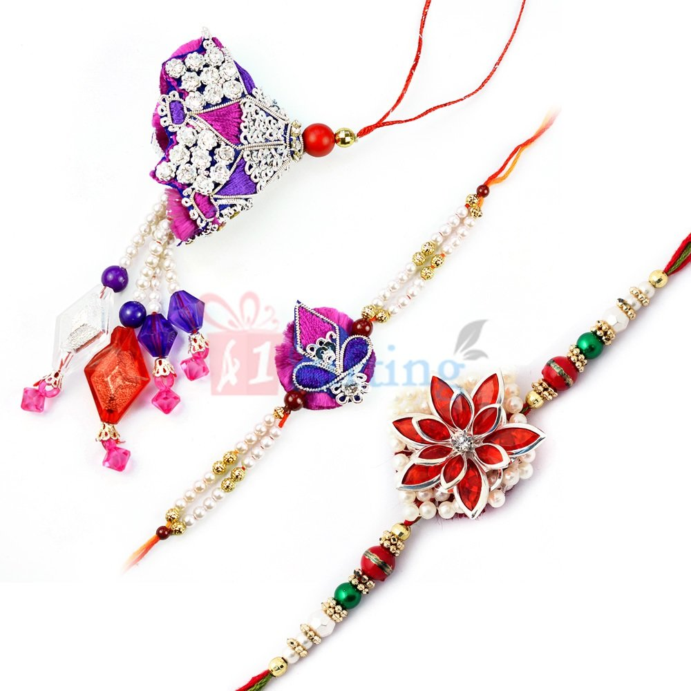 Awesome Pair Rakhi Set with Excellent Fancy Rakhi for Brother