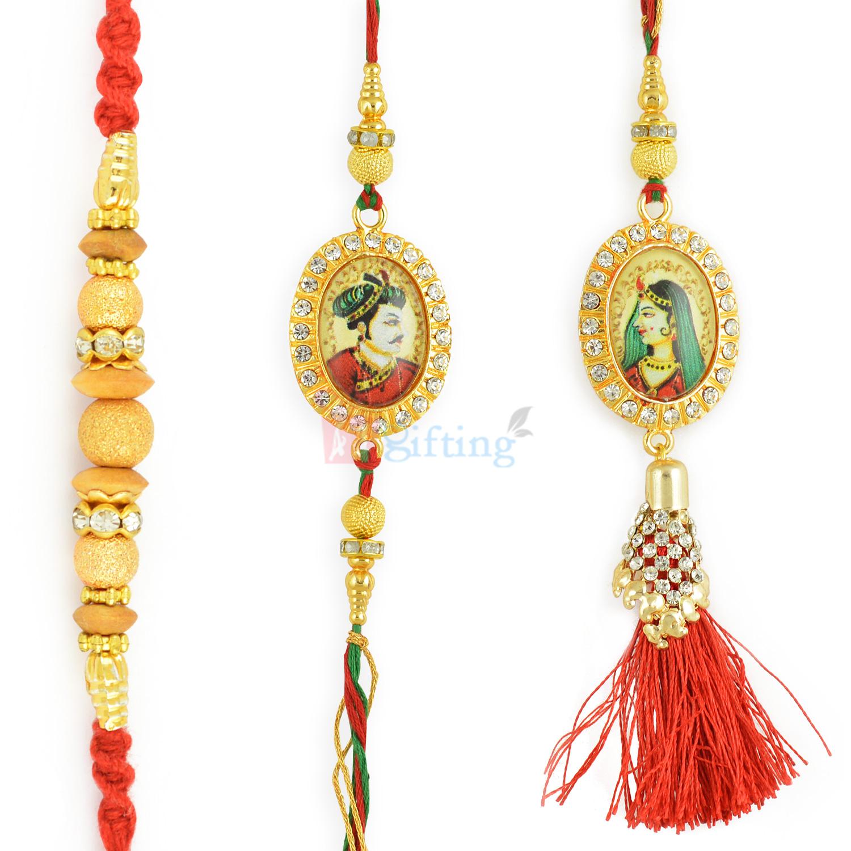 Stunning King and Queen of Mewar Rakhi Set