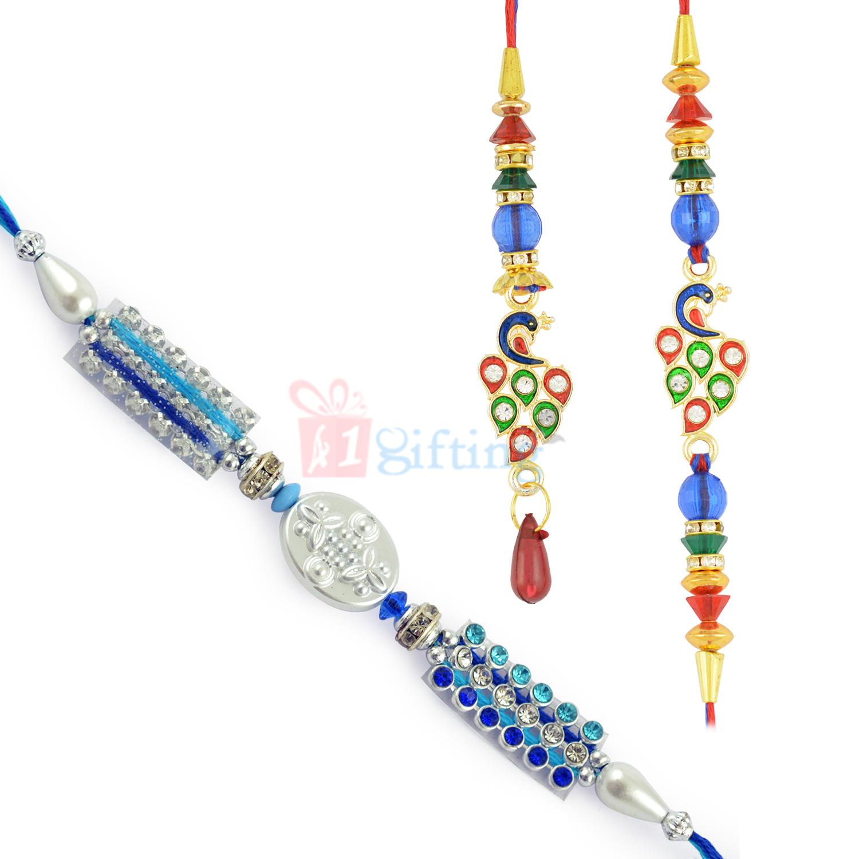 Excellent Blue Theme Meena Diamond Work Rakhi Set