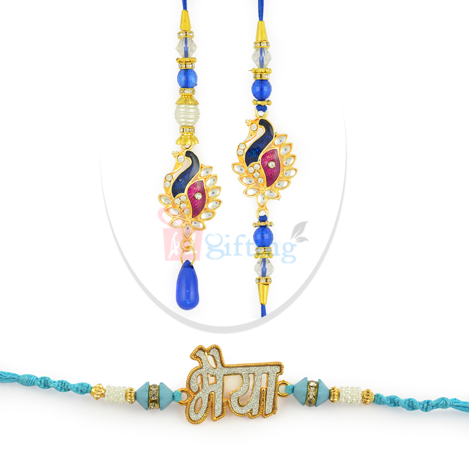 Splendid AD Work Bhaiya Rakhi with Beautiful BB Rakhi Set