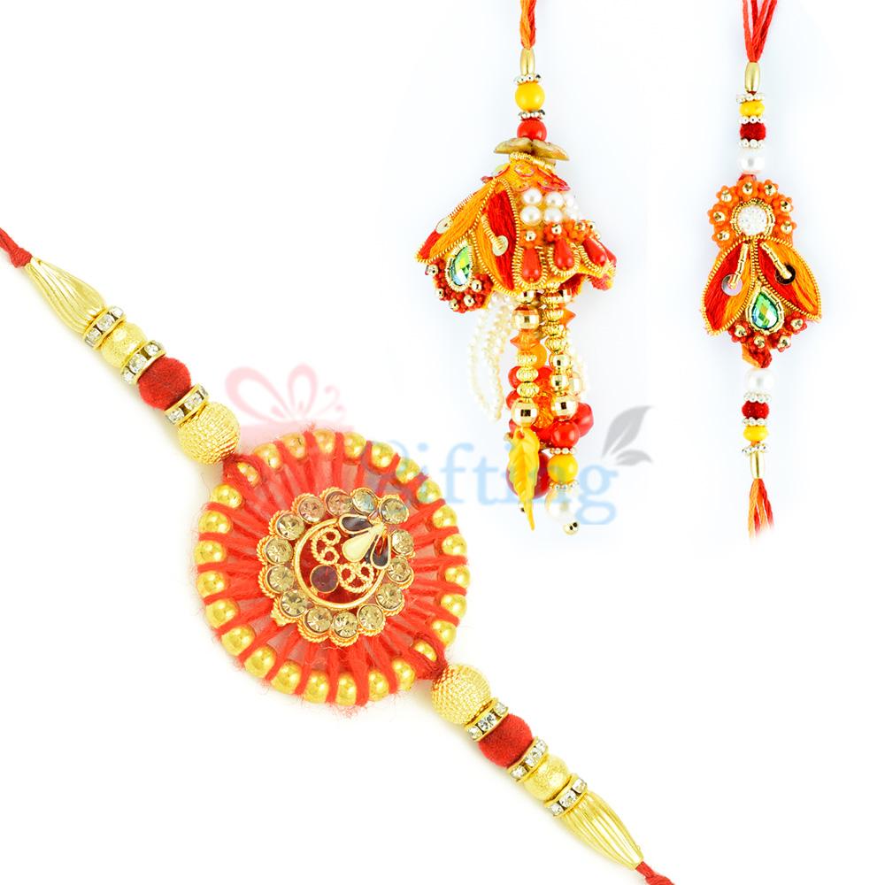 Authentic Jaipuri Work Emphasized Rakhi Set of 3 Rakhis