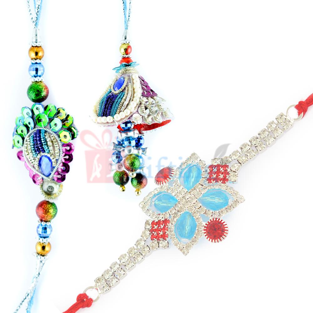 Exclusively Designed Diamond Rakhi with Beautiful BB Rakhi Set