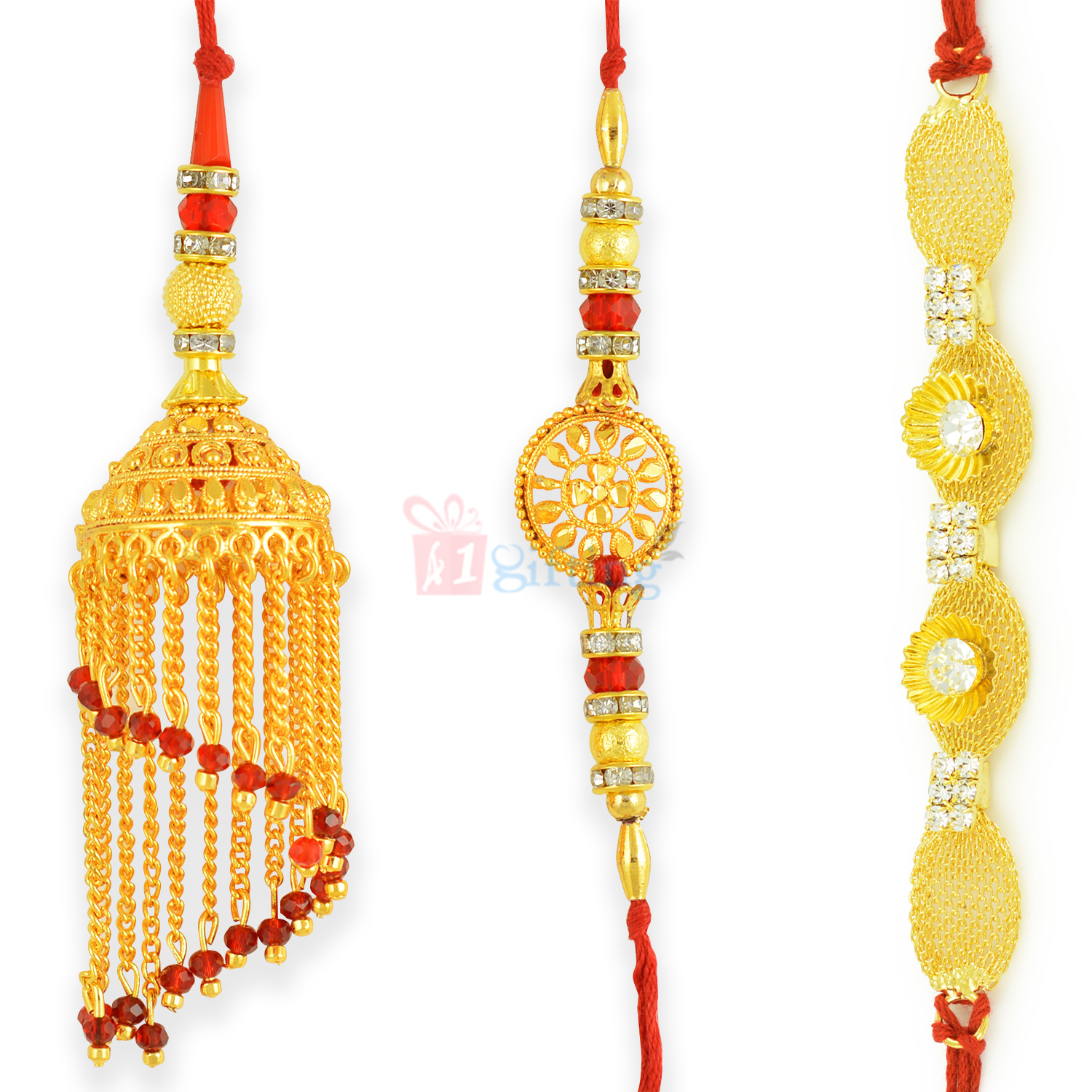 Beautifully Crafted Golden 3 Rakhi Set for Family