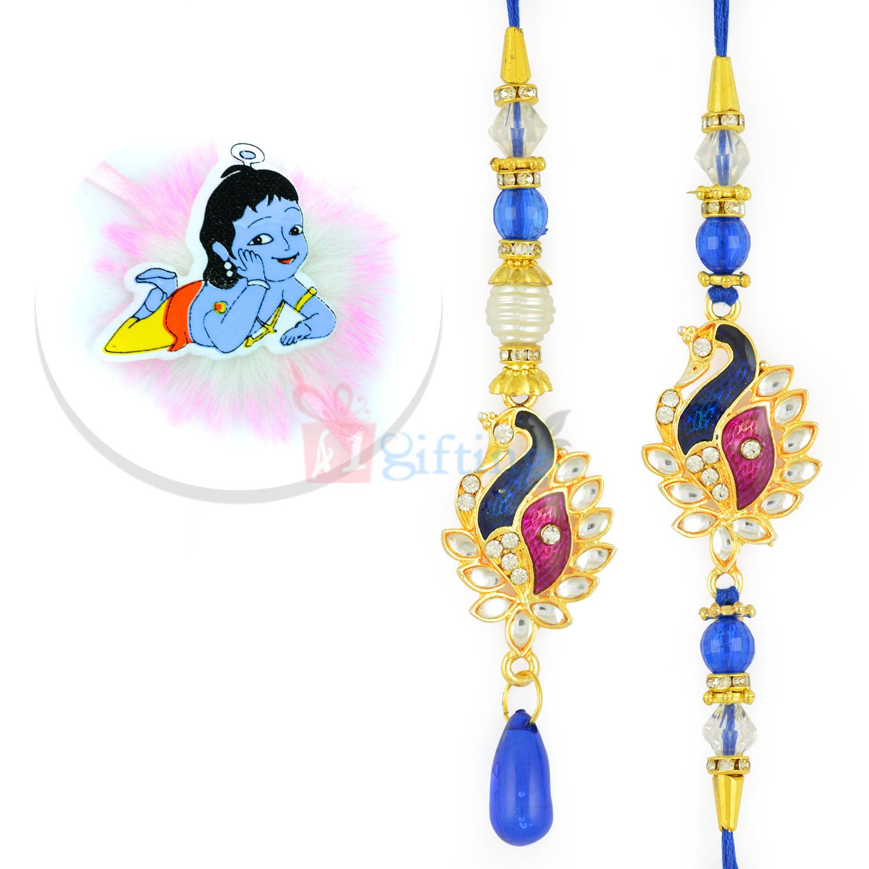 Smart Peacock Pair with Kundan Diamond Set and Kids Rakhi