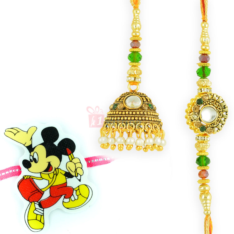 Artistic Kundan Diamond work Golden and Micky Rakhi Set