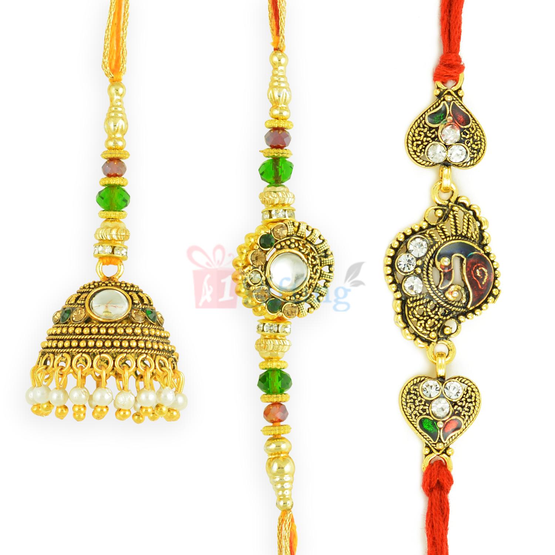 Pretty Designer Meena Work Pair with Peacock Antique Rakhi
